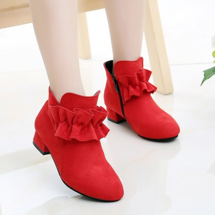 Kids Children Girl Cute Korean Suede Lace Winter Boots Casual Outing Shoes