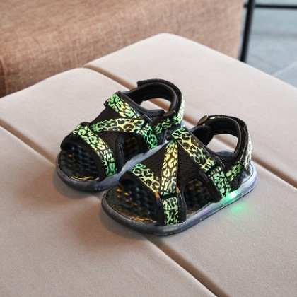 Kids Children Boy Cool LED Leopard Spots Sandals Casual Outing Shoes