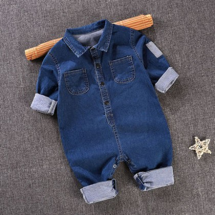 Baby Cute Boy Denim Button Up with Collar Jeans Jumpsuit Bodysuit