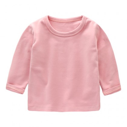 Baby Cute Boy Girl Round Neck Long Sleeve Basic Plain Color T-Shirt Tops