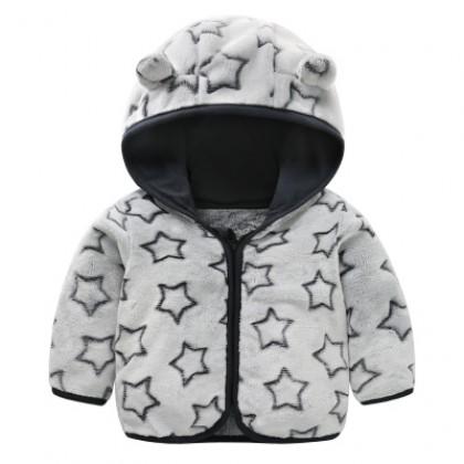 Baby Cute Girl Boy Travel Thick Keep Warm Stars Hoodie Winter Wear