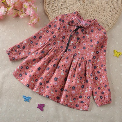 Kids Children Girl Cute Flora Small Flower Long Sleeve Dress