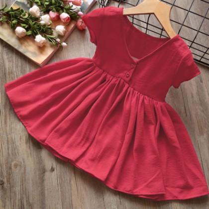 Kids Children Girl Cute Elegant Short Sleeve A Shape Plain Color Dress
