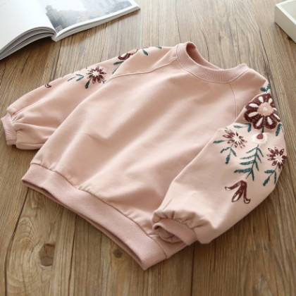 Kids Children Girl Cute Flora Embroidery  Long Sleeve Round Neck T-Shirt
