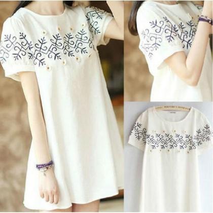 Women Korean Short Sleeve Flora Maternity Dress