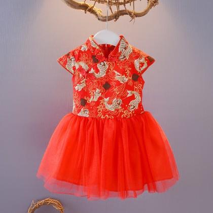 Kids Children Girl Chinese Year Cheongsam Princess Fluffy Skirt Dress