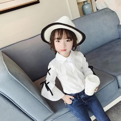 Kids Children Girl Korean Princess Bow Bow Trumpet Sleeve Shirt Tops