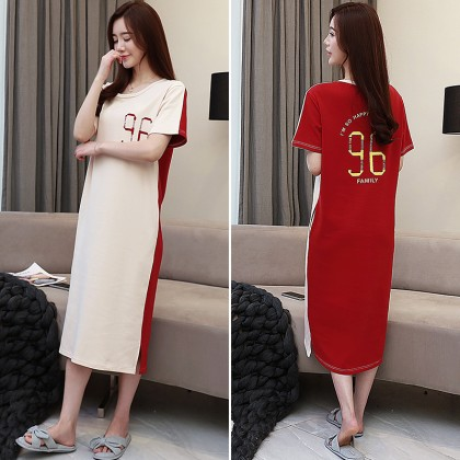 Women Korean Short Sleeve Long Comfy Dress Maternity Sleepwear