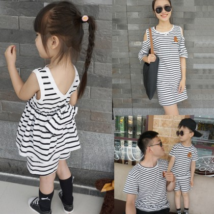 Women Summer Comfy Stripe Dress  Family of Three Cotton   Parent-Child Clothing