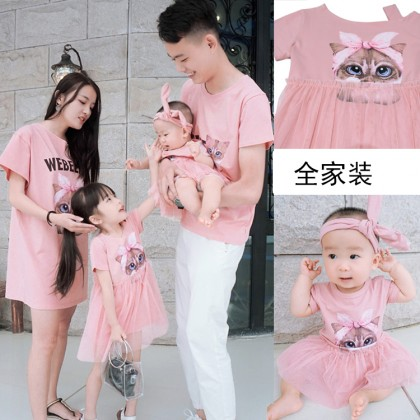 Women Summer Dress Family of Three Cotton Mesh Thin Section Parent child-Clothing