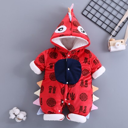 Baby Chinese Style Blessing Bodysuit Thick Coats Baby Clothing Winter Wear