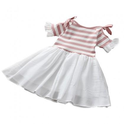 Kids Girls Dress Short Sleeved Ocean Off Shoulder skirt Mesh Kids Clothing Set
