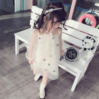 Kid Girls Summer Sweet Gauze Dress Temperament Star Baby Tutu Kids Clothing Dress
