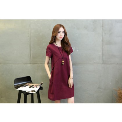 Women Chiffon Round Neck Solid Color Pocket Maternity Dress