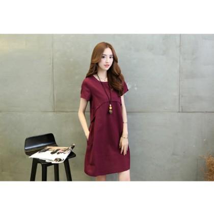 Women Chiffon Round Neck Solid Color Pocket Maternity Dress
