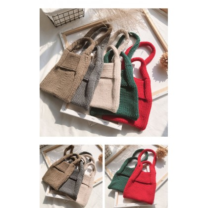 Kids Girls Bag Hand Woven Small Korea's autumn and winter wool knit Bag Cute Bag