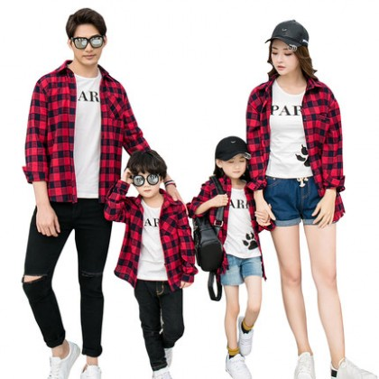 Parent Child Clothing Plaid Casual Long Sleeve Polo Shirts Summer Spring Outfits