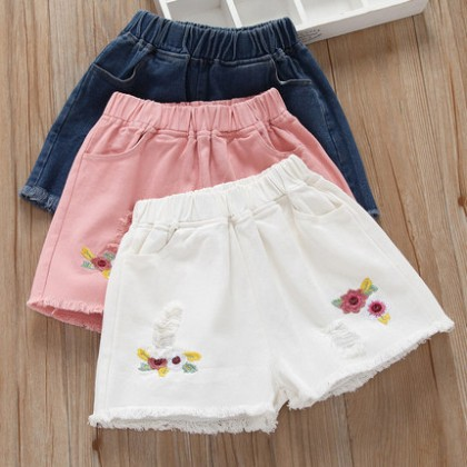 Kids Girls Bottoms Colorful Children Female Summer Shorts Tattered Korean Style