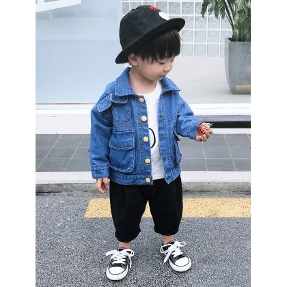Kids Boys Tops Children Denim Jacket Sweater Korean Style Casual Summer Outfits