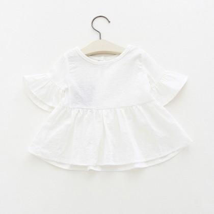 Baby Clothing Tops Girls Ruffled Shirt Summer Female Baby Short-Sleeved T-shirt