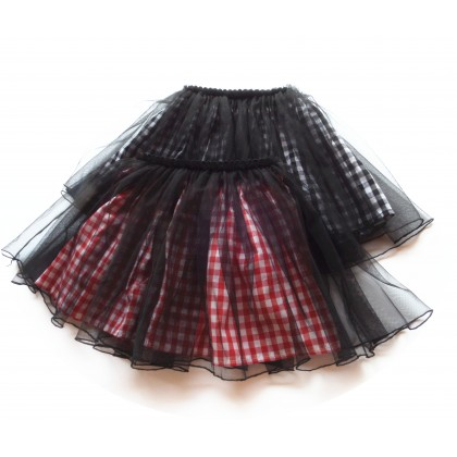 Kids Girls Clothing Bottoms Little Fluffy Plaid Mesh Princess Pleated Mini Skirt