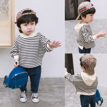 Kids Boys Clothing Tops Stripes Children's Cotton T-Shirts Korean Hoodie Sweater