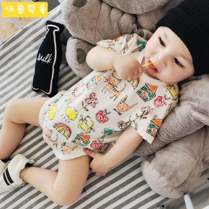 Baby Clothing Sleep Night Wear Newborn Thin Cotton Cute Printed Onesies Clothes