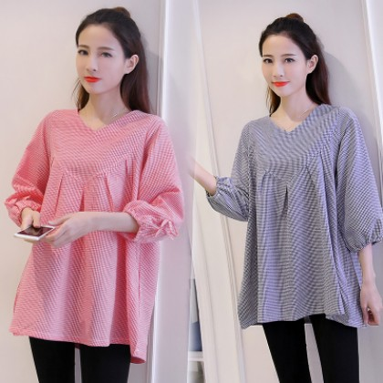 Maternity Clothing Tops Loose Cotton Summer Pregnancy Blouse Shirt New  Pleated