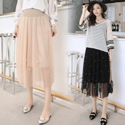 Maternity Clothing Skirts Long Mesh Stomach Lift Pregnant Women Summer Outwear