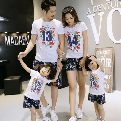 Parent Child Clothing Short Sleeved Cotton Summer Floral Print T-Shirts Family