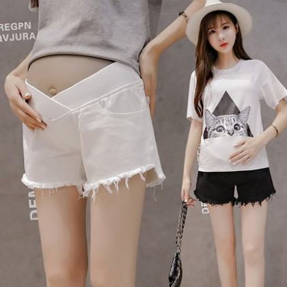 Maternity Clothing Shorts Pregnant Women New Denim Tattered Summer Stomach Lift