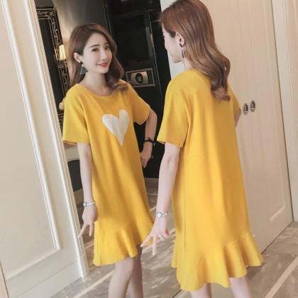 Maternity Clothing Dress Pregnancy Summer Short Sleeve Long Skirt Korean Style