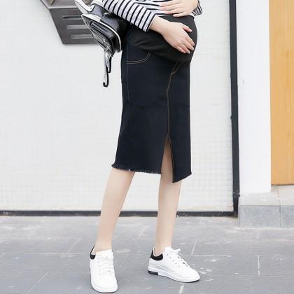 Maternity Clothing Skirts Denim Knee Length Stomach Lift Summer Pregnancy Wear