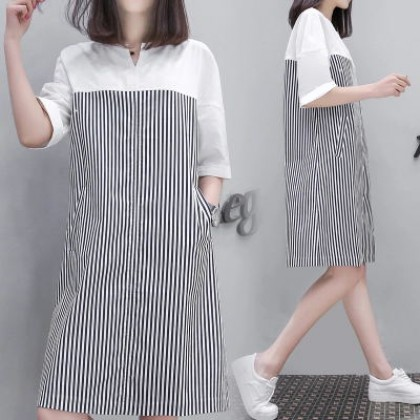 Women Office Working Stripes Shirt Maternity Dress