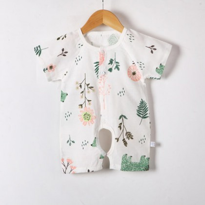 Baby Clothing Sleepwear Cotton Newborn Jumpsuit Short Sleeve Cute Prints Style