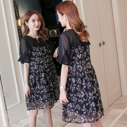 Maternity Clothing Dress Floral New Chiffon Summer Short Sleeve Pregnancy Wear