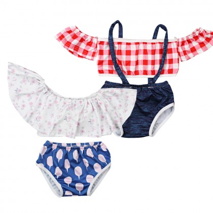 Baby Clothing Swimwear Girls Two Piece Swimsuit Cute Off Shoulder Beach Wear