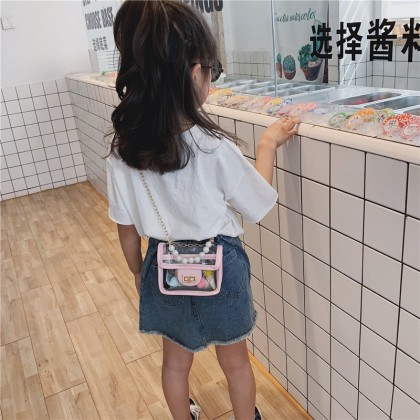 Kids Bags Girls Chain Children's Pearl Transparent Sling Cute Diagonal Cross Bag