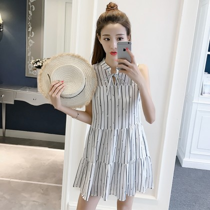 Maternity Clothing Dress Pregnant  Women Stripes Sleeveless Cotton Outwear
