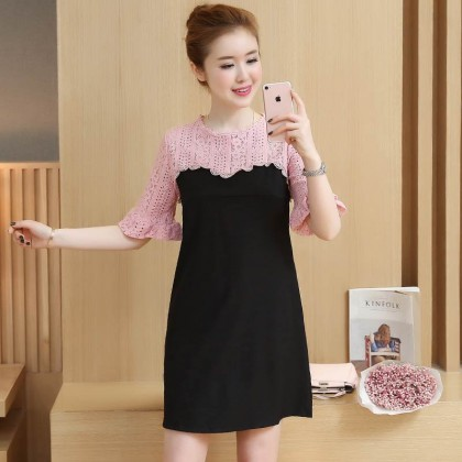 Women Office OL Working Lace Trumpet Sleeve Breastfeeding Maternity Dress