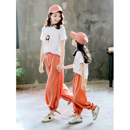 Parent Child Clothing Mother Daughter Set Short Sleeved Shirt Pants Cotton Outwear