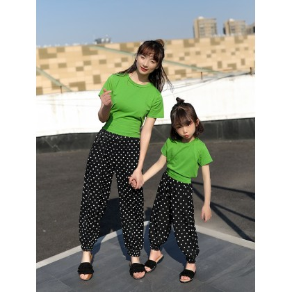Parent Child Clothing Set Summer T- Shirts and Pants Mom Daughter Nice Outwear