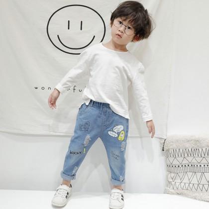Kids Clothing Boys Bottoms Pants Jeans Bliue Children's Casual  Denim Tattered
