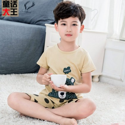 Kids Clothing Boys Sleepwear Set T- shirt And Short Soft Cotton Comfortable