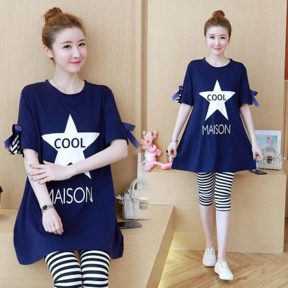 Maternity Clothing Tops Women Pregnancy Loose With Bow Blouse Cotton Shirts Wear