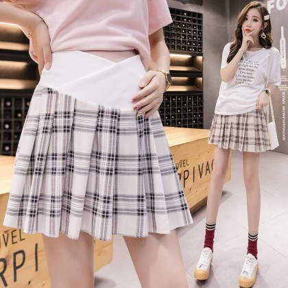 Maternity Clothing Skirts Checkered Pleated Stomach Lift Pregnancy Women Outwear