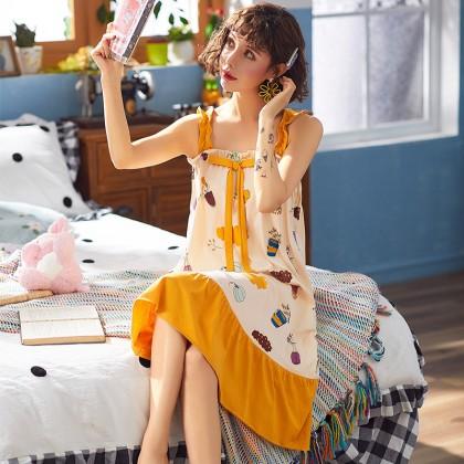 Maternity Clothing Sleepwear Pregnant Women Long Night Dress Cotton Sling Wear