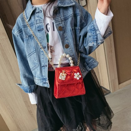 Kids Bags Girls Sling Chain Messenger Shoulder Pouch Mini Glitter Floral Style