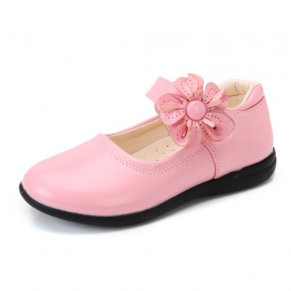 Kids Shoes Girls School Soft Bottom Leather Floral Style Casual  Footwear