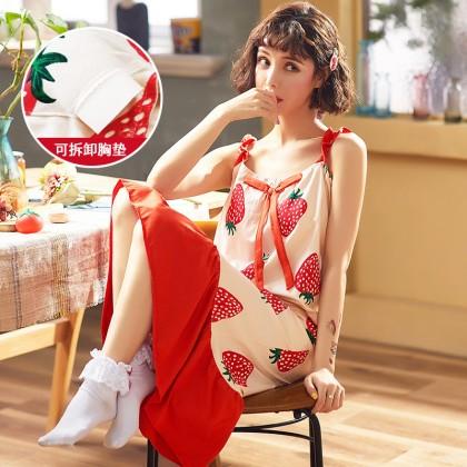 Maternity Clothing Sleepwear Long Cotton Printed Dress Loose Night Pregnancy Wear